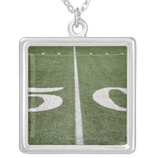 Fifty yard line silver plated necklace
