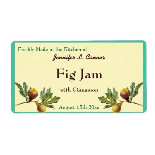 Fig Jam or Preserves Canning Jar Food Label Shipping Label
