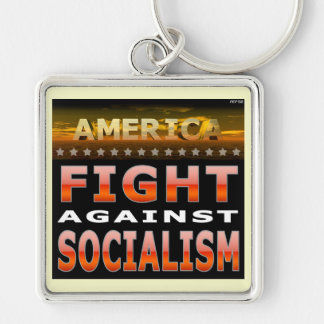 Fight Against Socialism Silver-Colored Square Key Ring