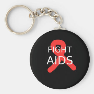 Fight AIDS Basic Round Button Key Ring