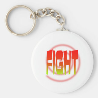 fight basic round button key ring