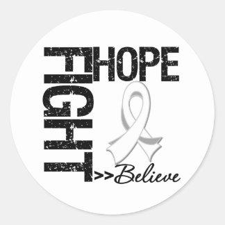 Fight Believe Hope v2 Bone Cancer Round Stickers