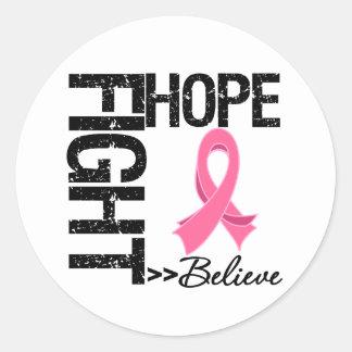 Fight Believe Hope v2 Breast Cancer Round Sticker