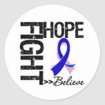 Fight Believe Hope v2 Male Breast Cancer Round Stickers