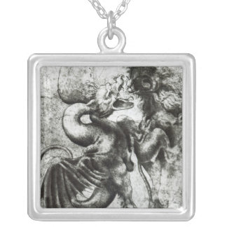 Fight between a Dragon and a Lion Silver Plated Necklace