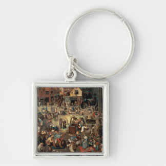 Fight between Carnival and Lent, 1559 Silver-Colored Square Key Ring