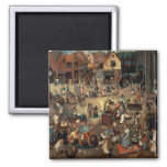 Fight between Carnival and Lent, 1559 Square Magnet