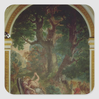 Fight between Jacob and the Angel, 1850-61 Square Sticker