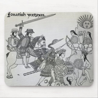 Fight between the Spanish and the Aztecs Mouse Mat