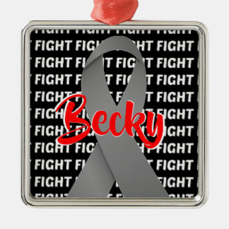 Fight Brain Cancer Gray Ribbon Christmas Ornament