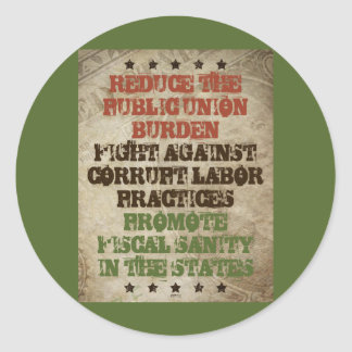 Fight Corrupt Labor Round Sticker