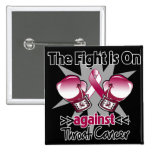 Fight is On Against Throat Cancer 15 Cm Square Badge