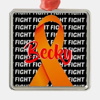Fight Leukemia Orange Ribbon Christmas Ornament