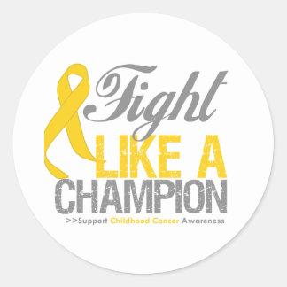 Fight Like a Champion Childhood Cancer Round Sticker