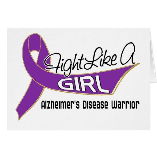 Fight Like A Girl Alzheimer's Disease 25.4 Greeting Card