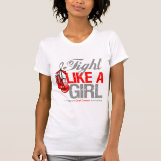 Fight Like a Girl Boxing - Oral Cancer Tee Shirts