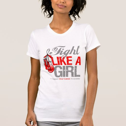 Fight Like a Girl Boxing - Oral Cancer Tshirt
