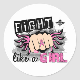 Fight Like A Girl Breast Cancer 27 8 Round Sticker