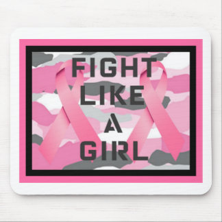 FIGHT LIKE A GIRL CAMO PINK RIBBONS PRINT MOUSE PAD