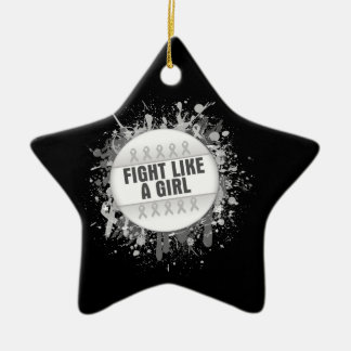 Fight Like a Girl Cool Button - Bone Cancer Double-Sided Star Ceramic Christmas Ornament