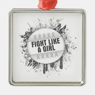 Fight Like a Girl Cool Button - Bone Cancer Square Metal Christmas Ornament
