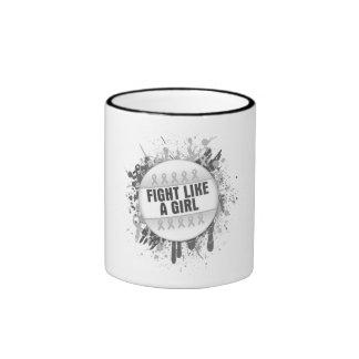 Fight Like a Girl Cool Button - Bone Cancer Mug