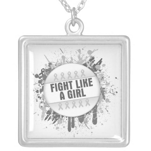 Fight Like a Girl Cool Button - Bone Cancer Custom Necklace