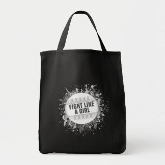 Fight Like a Girl Cool Button - Bone Cancer Canvas Bags
