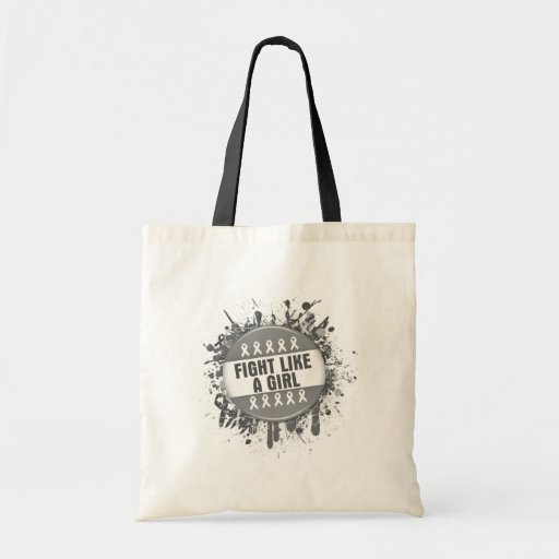 Fight Like a Girl Cool Button - Brain Cancer Canvas Bag