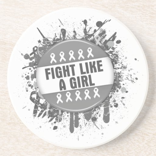 Fight Like a Girl Cool Button - Brain Cancer Coasters