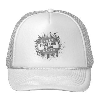 Fight Like a Girl Cool Button - Brain Cancer Trucker Hat