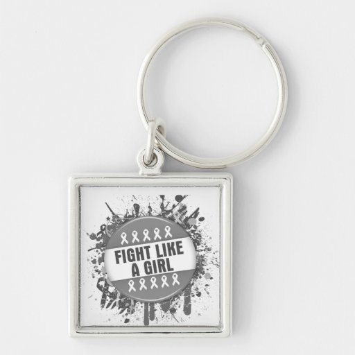 Fight Like a Girl Cool Button - Brain Cancer Keychains