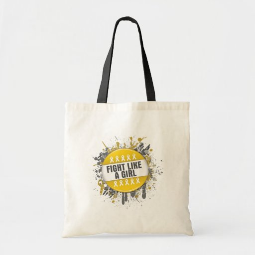 Fight Like a Girl Cool Button - Childhood Cancer Canvas Bag