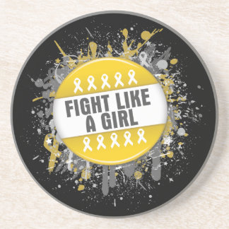 Fight Like a Girl Cool Button - Childhood Cancer Drink Coasters