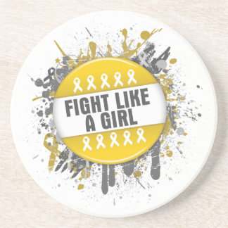 Fight Like a Girl Cool Button - Childhood Cancer Beverage Coasters