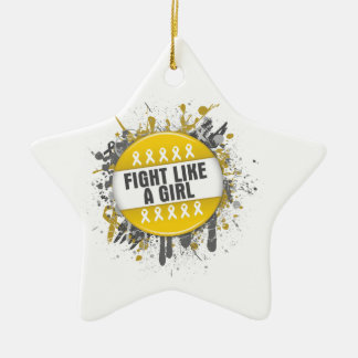 Fight Like a Girl Cool Button - Childhood Cancer Ornament