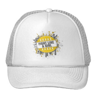 Fight Like a Girl Cool Button - Childhood Cancer Mesh Hats