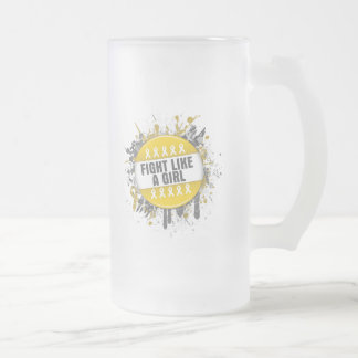 Fight Like a Girl Cool Button - Childhood Cancer Coffee Mugs