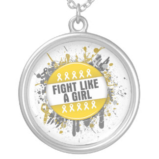 Fight Like a Girl Cool Button - Childhood Cancer Necklace