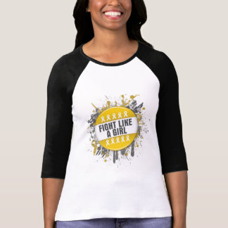 Fight Like a Girl Cool Button - Childhood Cancer Tee Shirt