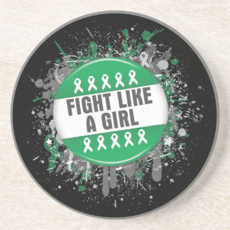 Fight Like a Girl Cool Button - Liver Cancer Drink Coasters