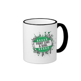 Fight Like a Girl Cool Button - Liver Cancer Coffee Mugs