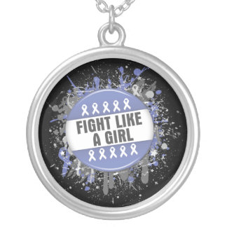 Fight Like a Girl Cool Button - Stomach Cancer Round Pendant Necklace