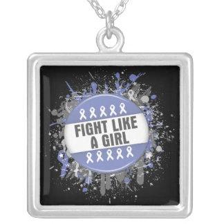 Fight Like a Girl Cool Button - Stomach Cancer Square Pendant Necklace
