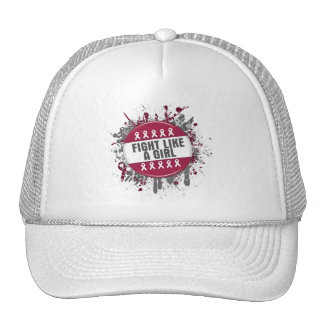 Fight Like a Girl Cool Button - Throat Cancer Mesh Hat