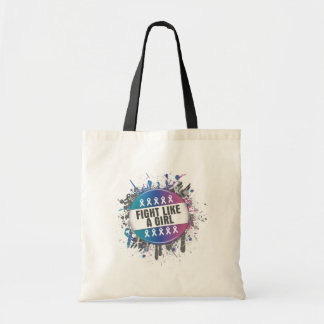 Fight Like a Girl Cool Button - Thyroid Cancer Canvas Bag
