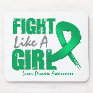 Fight Like A Girl Distressed Liver Disease Mouse Pads