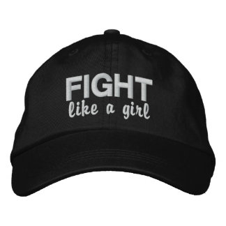 Fight Like A Girl Mesothelioma Embroidered Baseball Cap