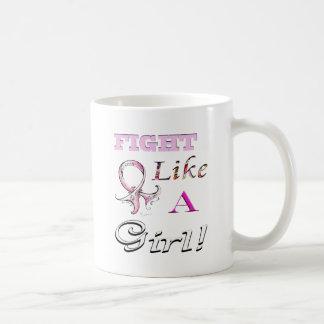 Fight Like a Girl Pink Ribbon Design Basic White Mug