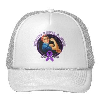 Fight Like a Girl Rosie Riveter Alzheimers Disease Cap